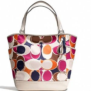 Used Coach Park Hand Drawn Scarf Print Tote